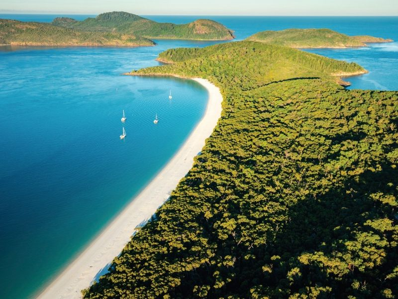 An aerial image of southern Whitehaven Beach and the Whitsunday Islands