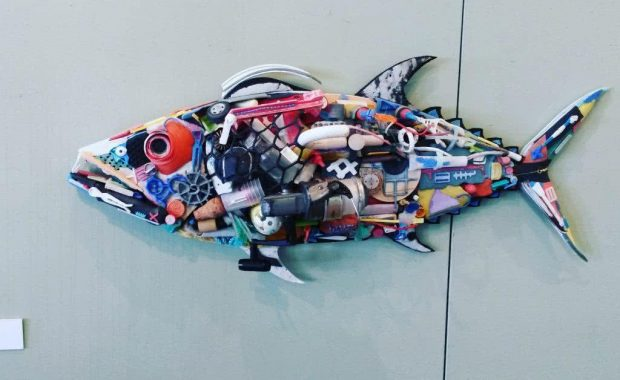 Artwork of a fish made up of marine debris by local artist David Day