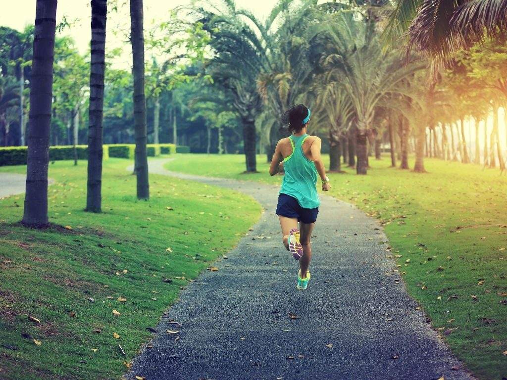 A jogger running in a park