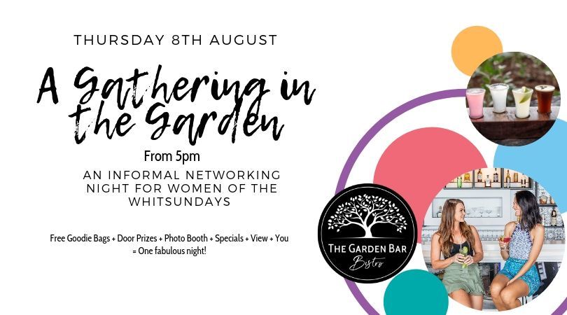 A Gathering in the Garden flyer for a women's networking night hosted by The Garden Bar Bistro
