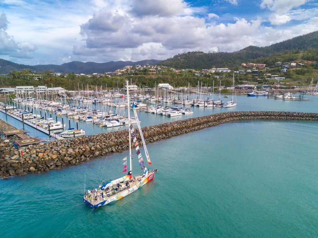 A Clipper Round the World Yacht Race vessel arriving into Coral Sea Marina in 2018