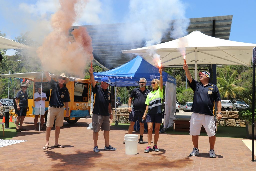 Safety Flare Demonstration at the Safety on Water Expo in 2019 at the Coral Sea Marina
