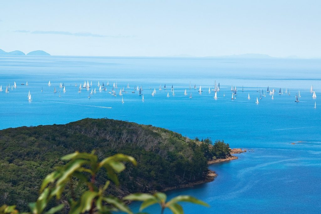 Many boats racing under sail during Airlie Beach Race Week