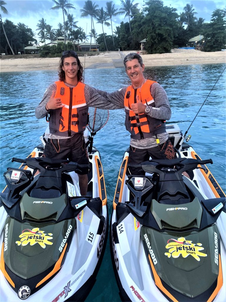 Steve and Rhys Ward on jet skis before departure on the Variety Jet Trek in March 2020