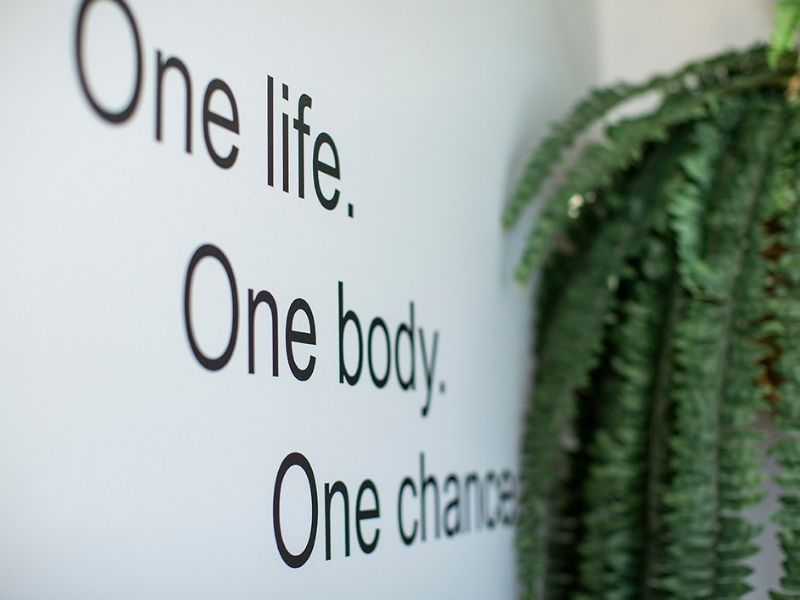 One Life Once Body One Chance quote displayed on the wall of fitness room at the Coral Sea Resort Hotel