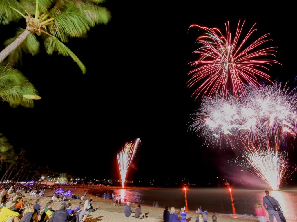 Fireworks at the Airlie Beach Foreshore for the Great Barrier Reef Festival
